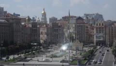 The center of Kiev in summer. Independence square Stock Footage
