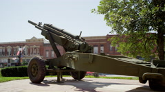Panning view of old gunner. Stock Footage