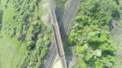 Crossing railroad tracks, (bridges, overpasses) top view quadrocopters Stock Footage