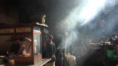 Ubud Market Bali Smokey Fast Food and Sun Beams 4K Stock Footage