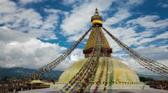 Time-lapse of the top of Boudhanath Stupa in Boudha, Nepal. - stock footage