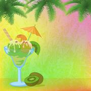 Stock Illustration of Ice Cream, Almonds, Palm Branches and Kiwi