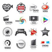 Biggest collection of vector logos for video production Stock Illustration