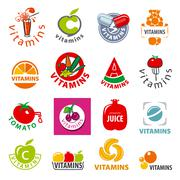 Stock Illustration of biggest collection of vector logos vitamins