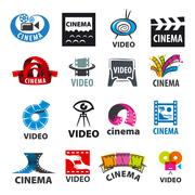 Large set of vector logos for video production Stock Illustration
