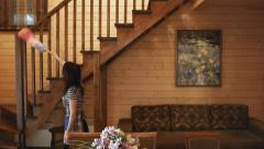 Wood House Cleaning Tilt - stock footage