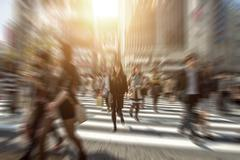 Stock Photo of People in bokeh, street downtown view of  Tokyo.