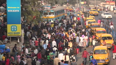 Welcome to Kolkata advertising, taxi line, and railway passengers Stock Footage