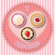 Stock Illustration of Illustration of cupcake on heart shape