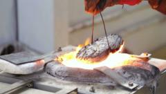 Melting alloy metal small high frequency induction furnace. Stock Footage