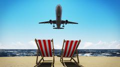 plane on the beach - stock photo
