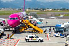Stock Photo of Aircraft Wizz Air aviation company at the airport of Bergamo.