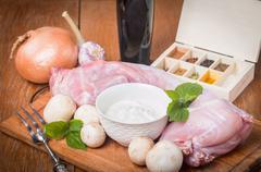 Rabbit carcass,  garlic, onion, sour cream, mushrooms and spices Stock Photos