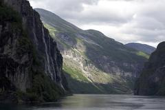 fantastic beauty of the fjord - stock photo
