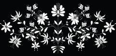 European folk floral patternin in white on black background Stock Illustration