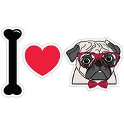 I love pugs witgh hipsters glasses and tie bow Stock Illustration