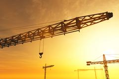 Huge Construction Cranes in the Sunset Sunrise 3D artwork 3 Stock Illustration