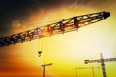 Huge Construction Cranes in the Sunset Sunrise 3D artwork 4 Stock Illustration
