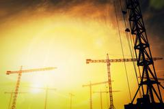 Huge Construction Cranes in the Sunset Sunrise 3D artwork 8 Stock Illustration