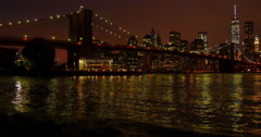 Night view on Manhattan, New York Stock Footage