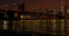 Night view on Manhattan, New York - stock footage