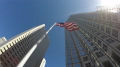 American Waving Flag in Miami, Florida Stock Footage