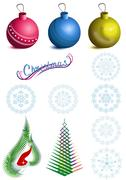 Stock Illustration of Collection of Christmas symbols balls and snowflakes