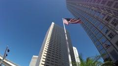 American Waving Flag in Miami, Florida - stock footage
