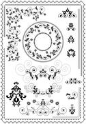 Frames and borders with flowers of pomegranate - stock illustration