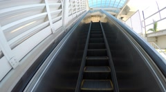 Up the escalators to Loop Metromover train in Bayfront Park, Miami Downtown - stock footage