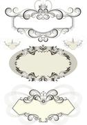 Vintage frame decorated with crown and the curves. - stock illustration