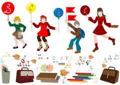 Stock Illustration of Schoolchild hurry to school.