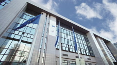 European flags at The Presidency of the Council of the EU Stock Footage
