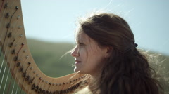 Outdoor Orchestra - Harp Stock Footage