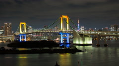 Stock Video Footage of Zoom out time lapse of the Rainbow Bridge at night as seen from Odaiba