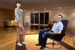 Father Trusting Teenage Daughter Going Out - stock photo