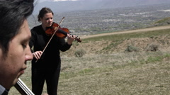 Outdoor Orchestra - Violin Stock Footage