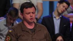 Ukrainian politician Semen Semenchenko on the debates in TV studios - stock footage