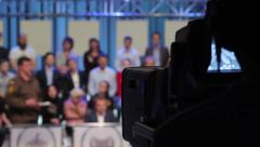 The camera shoots people in the TV Studio. Live broadcast, media Stock Footage