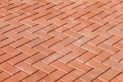 Red paving stones as background - stock photo