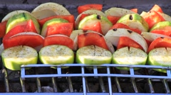 Vegetable Kabobs on the Barbecue Stock Footage
