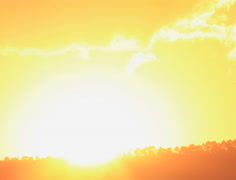 Sun setting behind distant forest. - stock footage