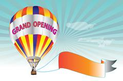 Grand Opening Sign - colorful hot air balloon - stock illustration