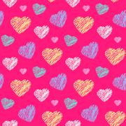 Scribble hearts pattern Stock Illustration