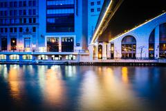 Buildings and pedestrian bridge over the Milwaukee River at night, in Milwauk Kuvituskuvat