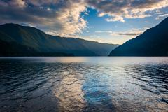 Evening light on Lake Crescent and mountains in Olympic National Park, Washin - stock photo