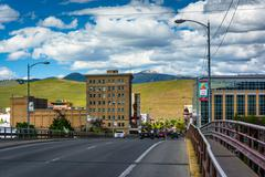 Higgins Avenue and buildings in downtown Missoula, Montana. - stock photo