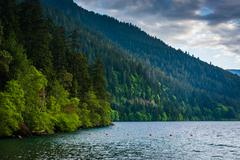 Stock Photo of Lake Crescent and mountains in Olympic National Park, Washington.