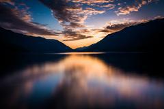 Sunset over Lake Crescent, in Olympic National Park, Washington. Stock Photos