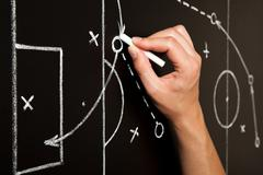 Hand Drawing Soccer Game Tactics Stock Photos
